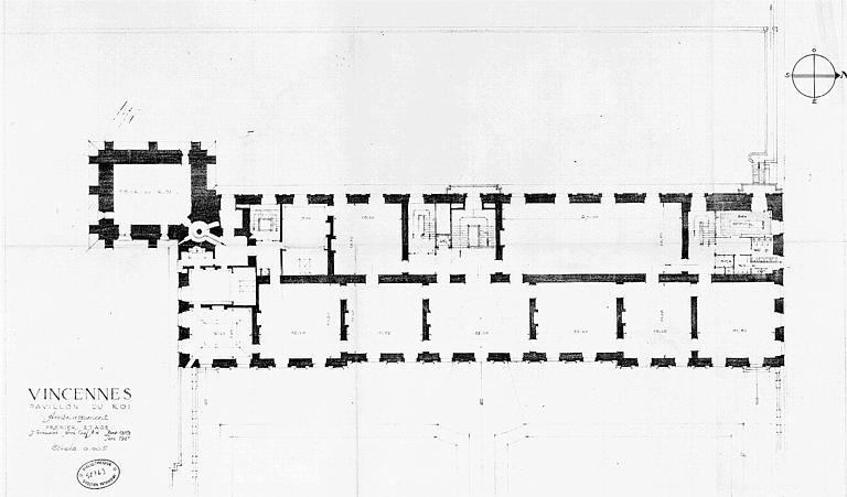 Aménagement du pavillon du roi : Plan du 1e étage