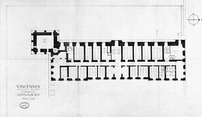 Aménagement du pavillon du roi : Plan de l'entresol du res-de-chaussée