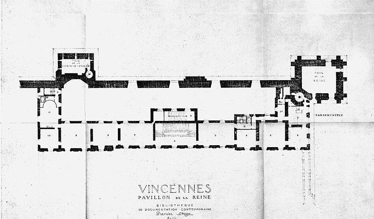 Bibliothèque de documentation contemporaine du pavillon de la reine : Plan du 1e étage