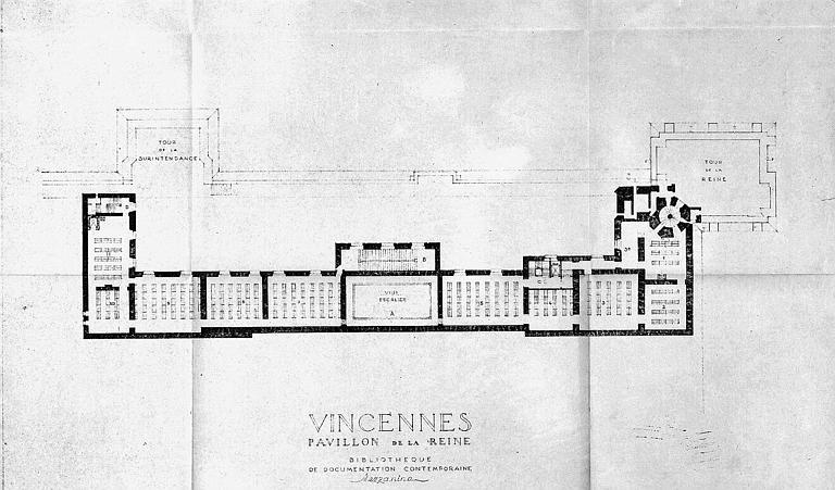 Bibliothèque de documentation contemporaine du pavillon de la reine : Plan de la mezzanine