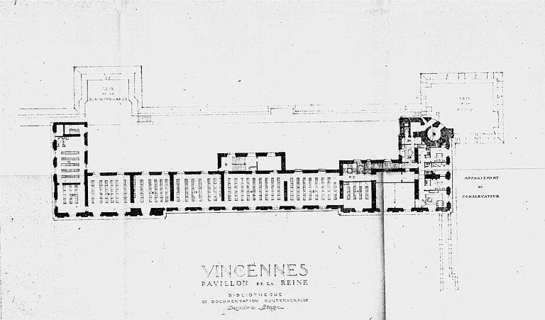 Bibliothèque de documentation contemporaine du pavillon de la reine : Plan du 2e étage