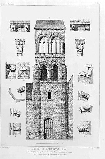 Héliogravure : Elévation du clocher et détails sculptés (corniche, chapiteau, modillon)