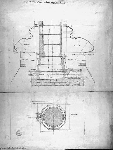 Plan et coupe d'une colonne de la nef