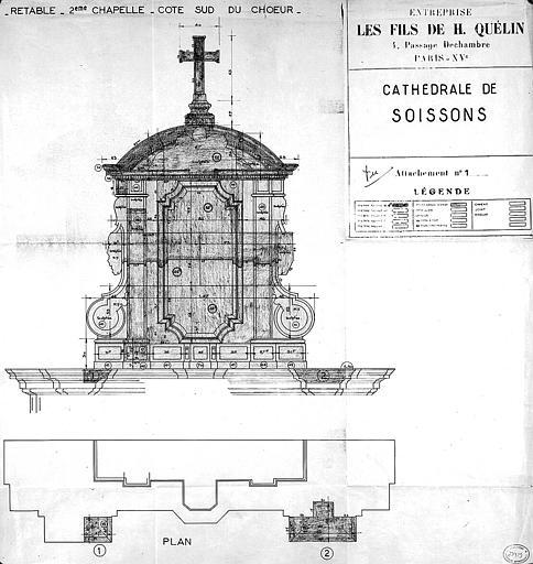 Plan et élévation du retable de la 2ème chapelle du côté sud du choeur