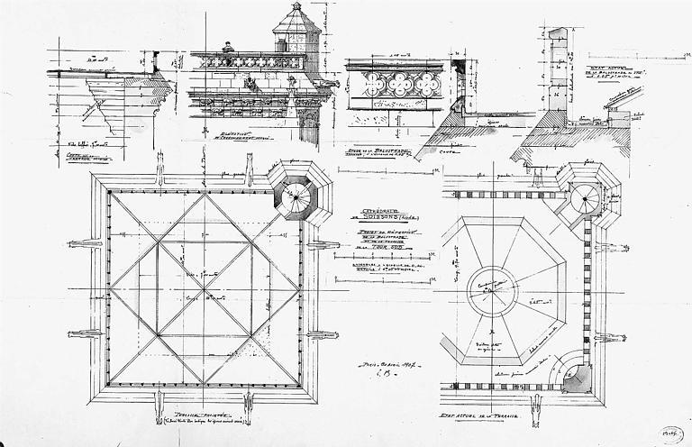 Projet de réfection de la balustrade de la tour sud : Plan, coupe, élévation