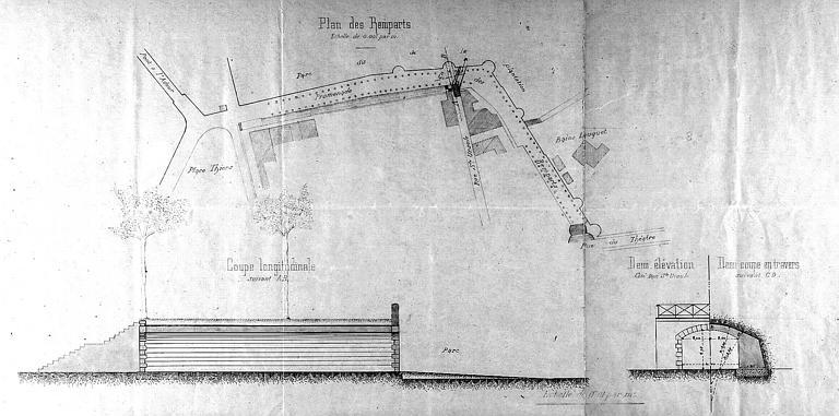 Projet d'aménagement d'un passage sous les remparts : Plan et coupe