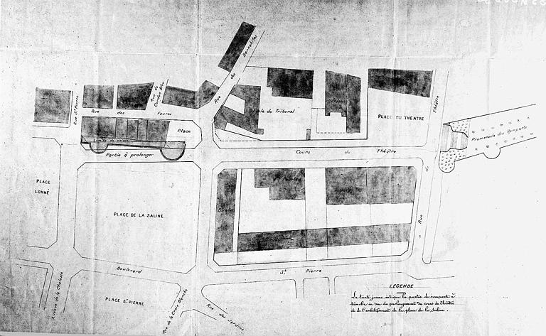 Démolition d'une partie des anciens remparts en vue du prolongement de la rue du Théâtre : Plan