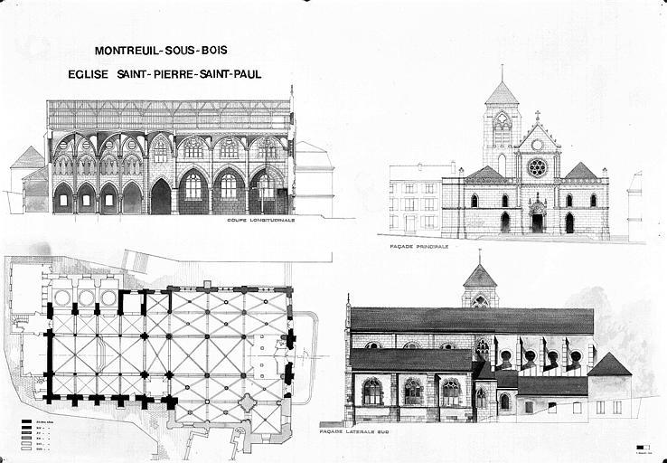Plan, coupe longitudinale, élévations des façades principale latérale sud