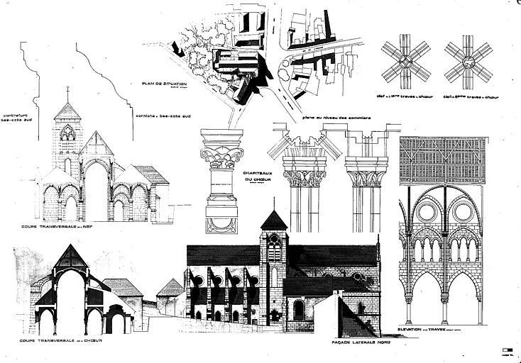 Plan de situation, élavation de la façade latérale nord, élévation d'une travée, coupes transversales de la nef et du choeur, et détails architecturaux (chapiteaux et clés de voûte)