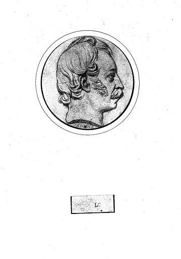 Dessin : Portrait en médaillon de David d'Angers