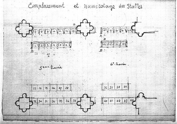 Emplacement et numérotage des stalles des 5ème et 6ème travées (plan)
