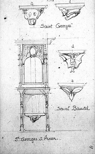 Miséricordes et stalle provenant de Saint-Georges-sur-Arnon (Indre) et miséricorde provenant de Saint-Baudel (Cher)