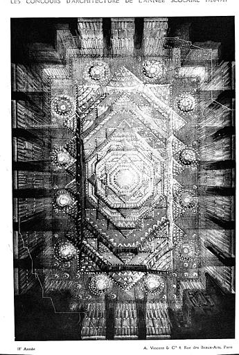 Lithographie : Plafond lumineux d'une salle de fêtes (1er prix et 1ère médaille au concours Rougenin)