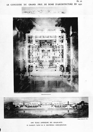 Lithographie : Plan et élévation du projet pour une école supérieure des Beaux Arts (concours du Granel, Prix de Rome d'Architecture)