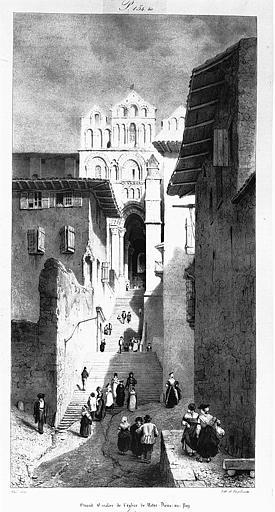 Lithographie : Grand escalier menant à la cathédrale