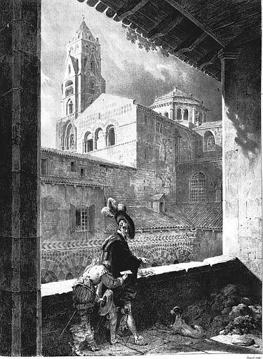 Lithographie : Vue d'une partie de l'église et du clocher