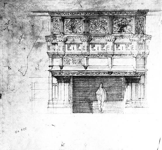 Projet de cheminée : Elévation (calque)