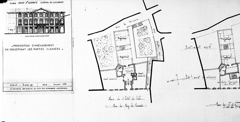 Proposition d'aménagement en conservant les parties classées : Plan du rez-de-chaussée et élévation de l'entrée principale