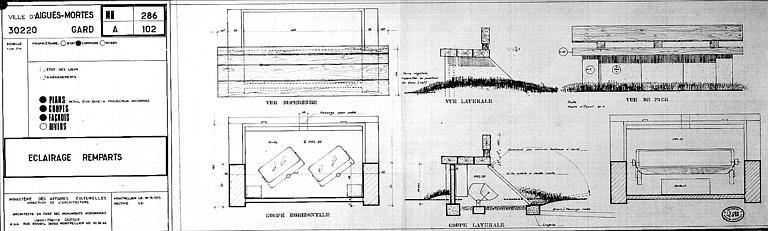 Eclairage des remparts : Coupes horizontale et latérale, et vue de face