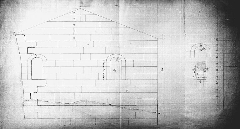 Reconstruction de la chapelle des Morts : Coupe transversale