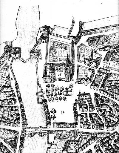 Gravure : Plan en perspective de la ville (fac. similé de l'original, partie en haut à gauche)