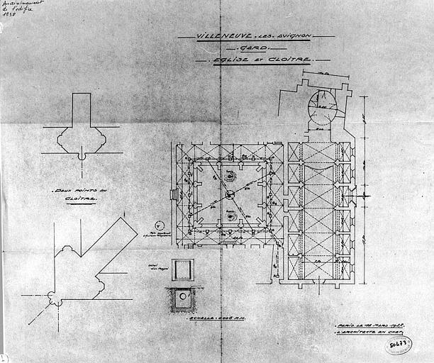 Plan de l'église et du cloître