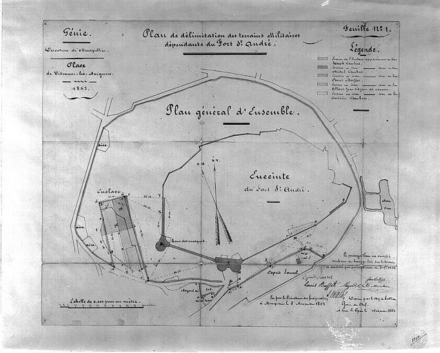 Plan général aquarellé indiquant la délimitation des terrains militaires dépendants du Fort Saint-André