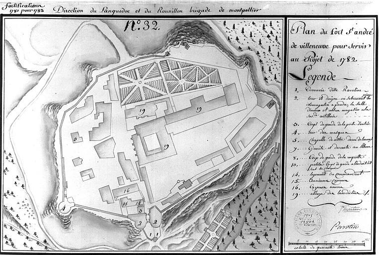 Plan à l'aquarelle (n° 32) pour servir au projet de 1782