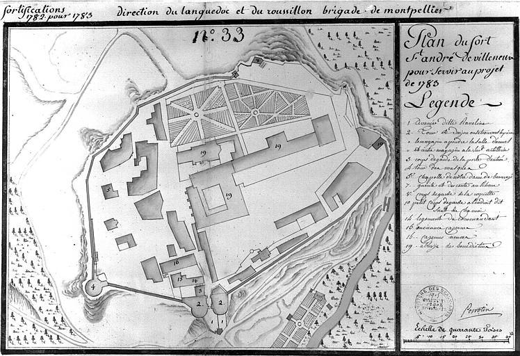 Plan à l'aquarelle (n° 33) pour servir au projet de 1783