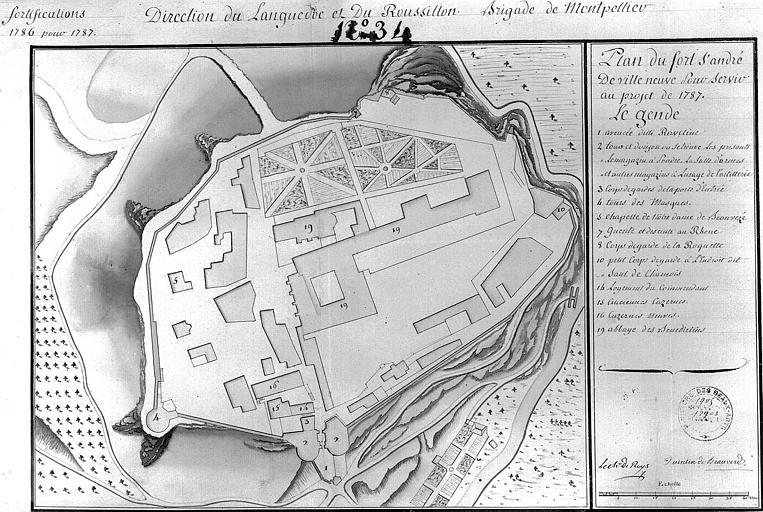 Plan à l'aquarelle (n° 34) pour servir au projet de 1787