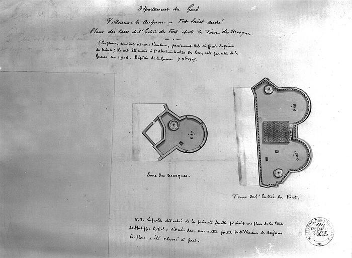 Plan à l'aquarelle des tours de l'entrée du fort et de la tour des Masques