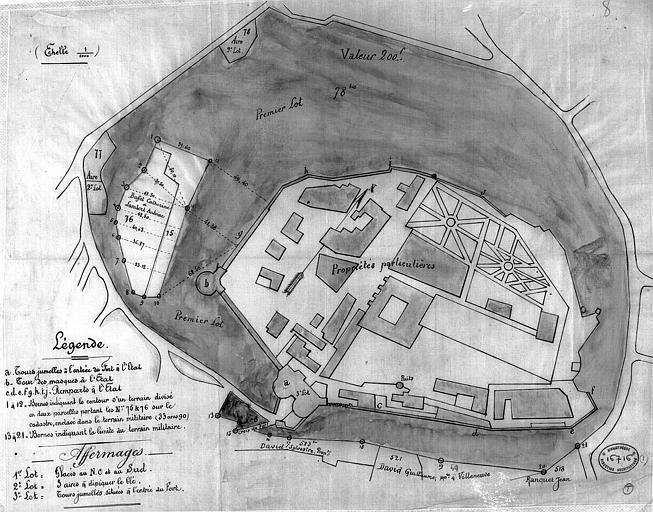 Plan d'ensemble aquarellé indiquant les propriétés