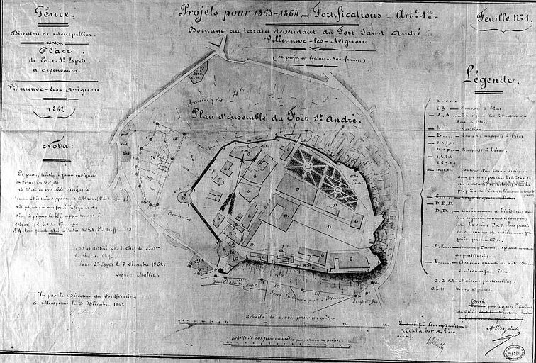 Projet pour 1863-1864, bornage du terrain dépendant du fort : Plan d'ensemble à l'aquarelle, feuille n° 1