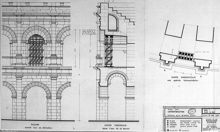 Remplacement des claveaux d'arc : Elévation d'une travée de la façade, coupe verticale dans l'axe de la travée, et coupe horizontale sur galerie intermédiaire