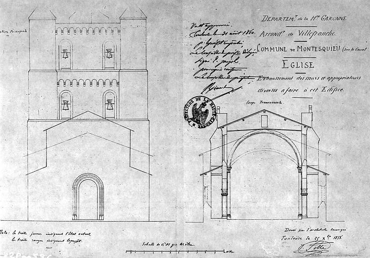 Exhaussement des murs : Elévation de la façade ouest et coupe transversale
