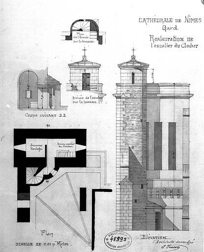 Restauration de l'escalier du clocher : Plan, coupes et élévations
