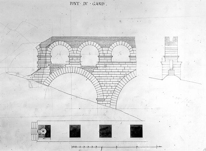 Plan, coupe et élévation d'une arche avec un escalier à vis