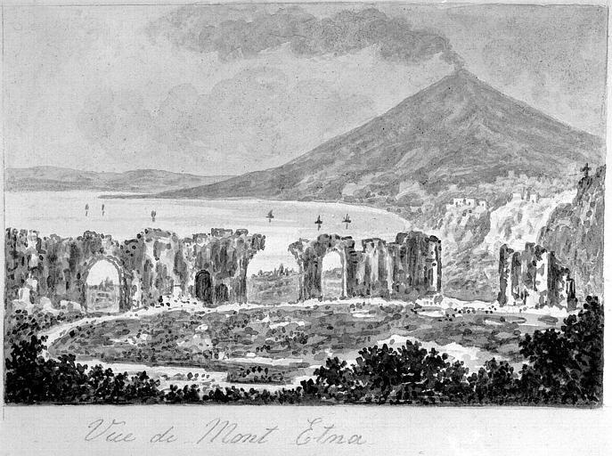 Lavis de sépia : Vue de l'Etna et des ruines du théâtre de Thormina