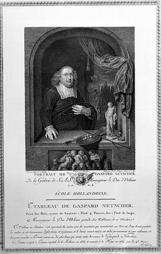 Gravure : Portrait de Gaspard Netscher, d'après un tableau peint sur bois par lui-même, etprovenant de la galerie du Duc d'Orléans