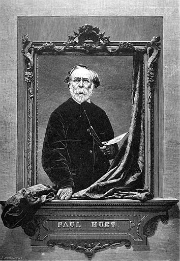 Gravure sur bois : Portrait de Paul Huet d'après une photographie de Dallemagne