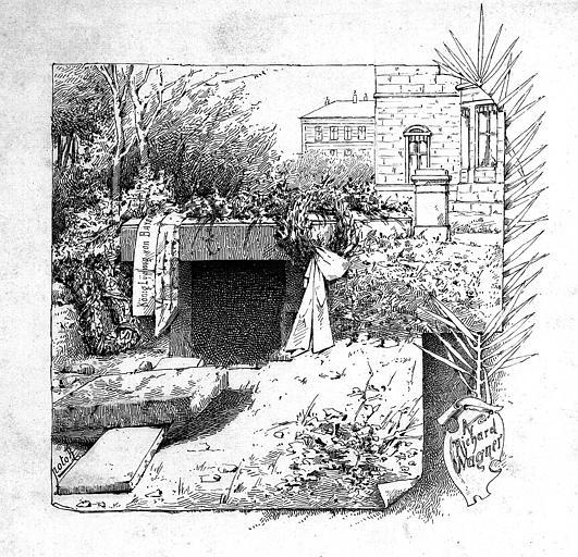 Gravure : Tombeau de Richard Wagner à la villa Wahnfried