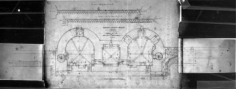 Plan du 1e étage de la porte n° 4 dite de Saint-Antoine (courtine entre les tours 4 et 5, 5 et 6)