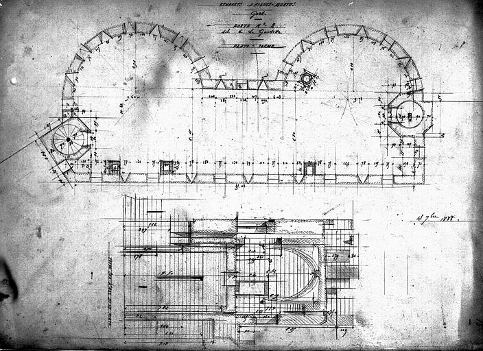 Plan et coupe de la plate-forme de la porte n° 2 dite de La Gardette