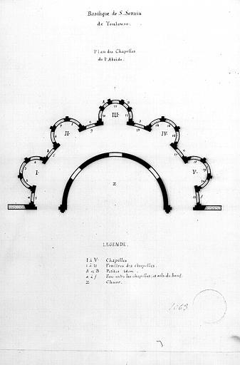 Plan des chapelles de l'abside