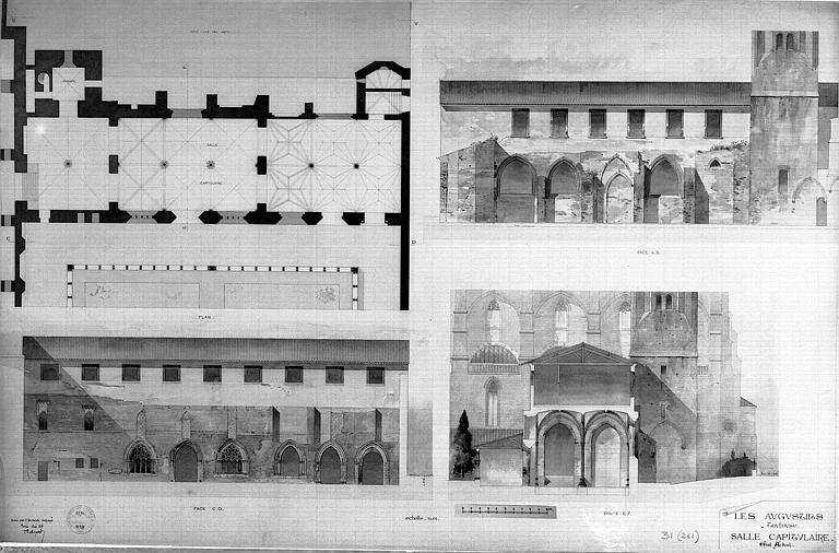 Plans, coupes et élévations de la salle capitulaire (état actuel)