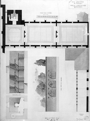 Plans, coupes et élévations de la salle capitulaire (état restauré)