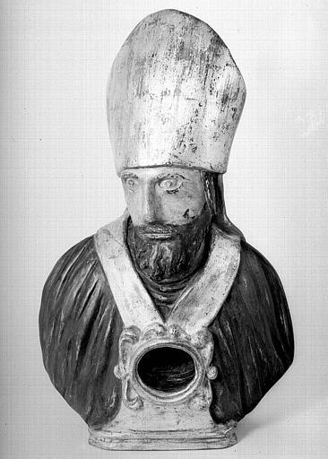 Buste reliquaire d'un évêque en bois peint et doré