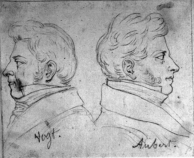 Dessin : Portrait d'Auber et de Vogt