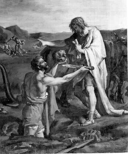 Huile sur papier marouflé sur toile : Le laboureur de Virgile ?