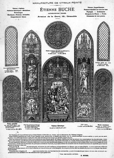 Lithographie : Affiche réclame d'Etienne Buche, artiste peintre verrier de la Manufacture de vitraux peints